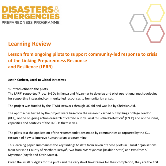 Lesson from ongoing pilots to support community-led response to crisis of the Linking Preparedness Response and Resilience (LPRR) Image