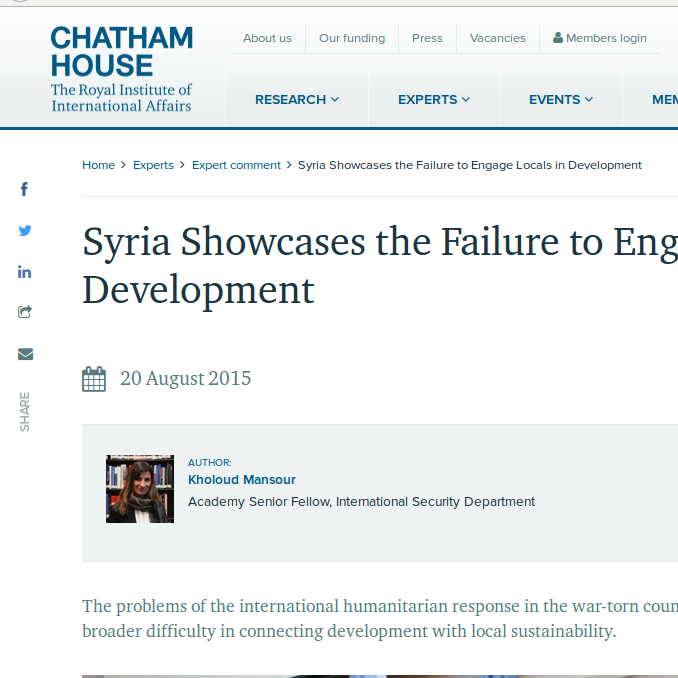 Syria Showcases the Failure to Engage Locals in Development Image